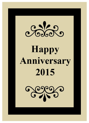 """Happy Anniversary"" Filigree Wine Bottle Label"
