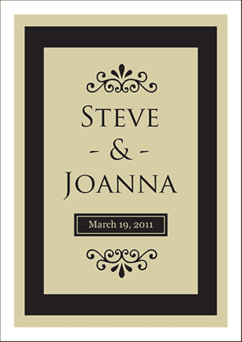 Filigree Wedding Wine Label