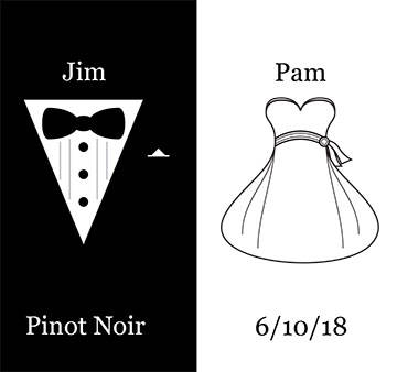 Bride & Groom Wedding Dress & Tux Wine Bottle Label