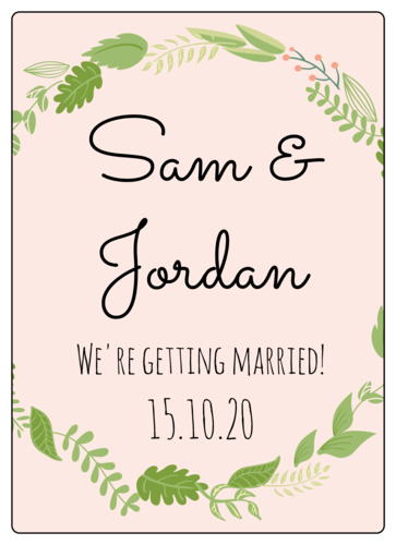 Botanical Wedding Wine Bottle Label
