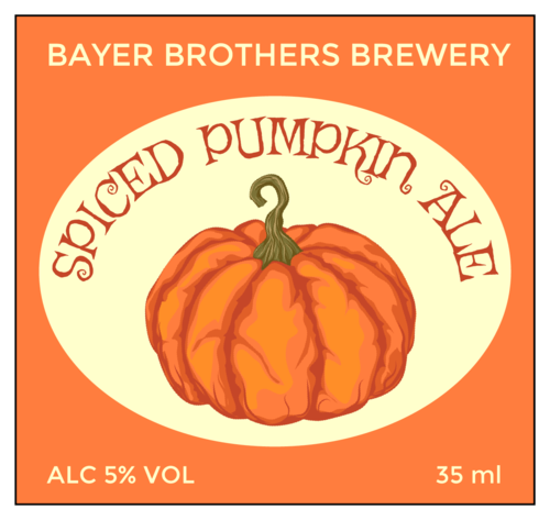 """Spiced Pumpkin Ale"" Beer Bottle Label"