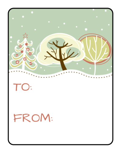 White Snowy Christmas Gift Tag Sticker