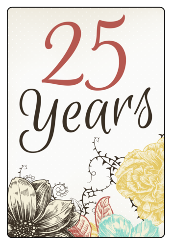 Floral Anniversary Wine Bottle Label