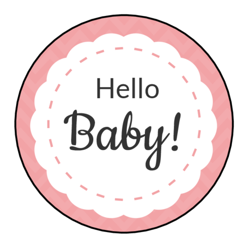 """Hello Baby!"" Baby Shower Label"