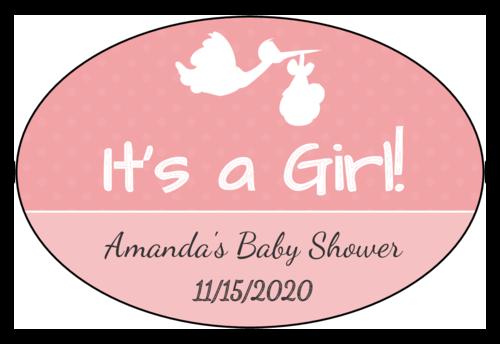 """It's a Boy/Girl!"" Stork Baby Shower Label"