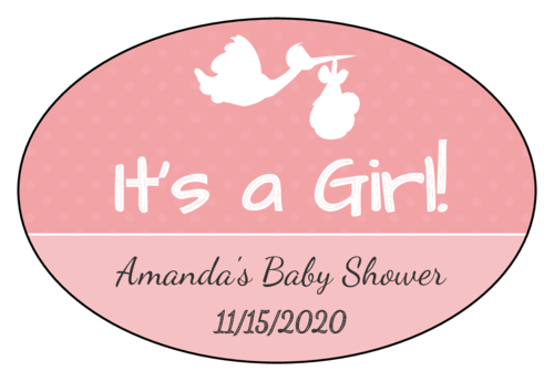 """It's a Boy/Girl!"" Stork Baby Shower Label"