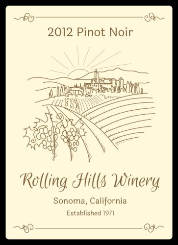 Countryside Vineyard Wine Bottle Label