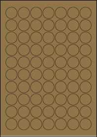 Product EU30020BK - 25mm Circle Labels - Brown Kraft - 70 Per A4 Sheet