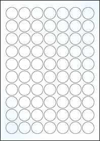 Product EU30020CK - 25mm Circle Labels - Gloss Clear Inkjet - 70 Per A4 Sheet