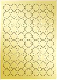 Product EU30020GF - 25mm Circle Labels - Metallic Gold Laser - 70 Per A4 Sheet
