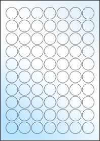 Product EU30020WG - 25mm Circle Labels - Gloss White Inkjet - 70 Per A4 Sheet