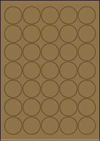 Product EU30021BK - 37mm Circle Labels - Brown Kraft - 35 Per A4 Sheet
