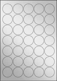 Product EU30021SF - 37mm Circle Labels - Metallic Silver Laser - 35 Per A4 Sheet