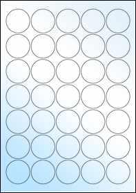 Product EU30021WG - 37mm Circle Labels - Gloss White Inkjet - 35 Per A4 Sheet