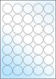 Product EU30021GL - 37mm Circle Labels - Weatherproof Gloss Laser - 35 Per A4 Sheet