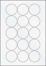 Product EU30022CX - 51mm Circle Labels - Matt Clear Laser - 15 Per A4 Sheet