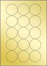 Product EU30022GF - 51mm Circle Labels - Metallic Gold Laser - 15 Per A4 Sheet