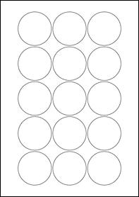 Product EU30022WI - 51mm Circle Labels - Weatherproof Gloss White Inkjet - 15 Per A4 Sheet