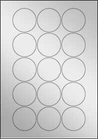 Product EU30022SF - 51mm Circle Labels - Metallic Silver Laser - 15 Per A4 Sheet