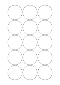 Product EU30022WR - 51mm Circle Labels - Removable Matt White - 15 Per A4 Sheet