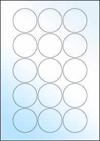 Product EU30022GL - 51mm Circle Labels - Weatherproof Gloss Laser - 15 Per A4 Sheet