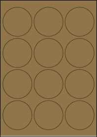 Product EU30023BK - 63.5mm Circle Labels - Brown Kraft - 12 Per A4 Sheet