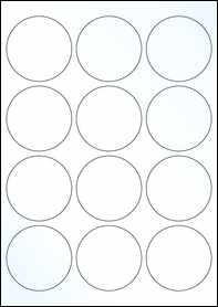 Product EU30023CK - 63.5mm Circle Labels - Gloss Clear Inkjet - 12 Per A4 Sheet