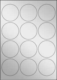Product EU30023SF - 63.5mm Circle Labels - Metallic Silver Laser - 12 Per A4 Sheet