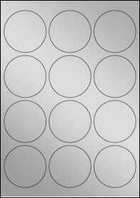 Product EU30023SP - 63.5mm Circle Labels - Weatherproof Silver Laser - 12 Per A4 Sheet