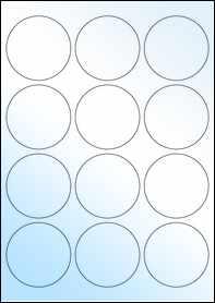 Product EU30023WG - 63.5mm Circle Labels - Gloss White Inkjet - 12 Per A4 Sheet