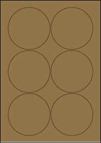Product EU30024BK - 88mm Circle Labels - Brown Kraft - 6 Per A4 Sheet