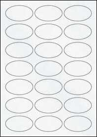Product EU30026CX - 60mm x 34mm Oval Labels - Matt Clear Laser - 21 Per A4 Sheet