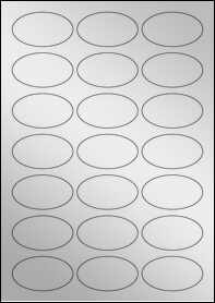 Product EU30026SF - 60mm x 34mm Oval Labels - Metallic Silver Laser - 21 Per A4 Sheet