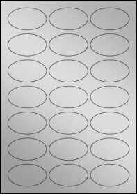 Product EU30026SP - 60mm x 34mm Oval Labels - Weatherproof Silver Laser - 21 Per A4 Sheet