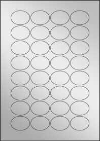Product EU30027SF - 40mm x 30mm Oval Labels - Metallic Silver Laser - 32 Per A4 Sheet
