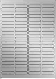 Product EU30049SP - 46mm x 11mm Labels - Weatherproof Silver Laser - 84 Per A4 Sheet