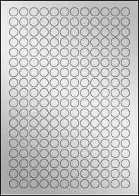 Product EU30050SF - 13mm Circle Labels - Metallic Silver Laser - 216 Per A4 Sheet