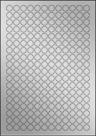 Product EU30050SP - 13mm Circle Labels - Weatherproof Silver Laser - 216 Per A4 Sheet