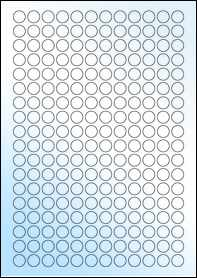 Product EU30050GL - 13mm Circle Labels - Weatherproof Gloss Laser - 216 Per A4 Sheet