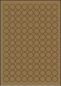 Product EU30051BK - 19mm Circle Labels - Brown Kraft - 117 Per A4 Sheet