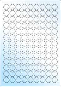Product EU30051WG - 19mm Circle Labels - Gloss White Inkjet - 117 Per A4 Sheet