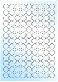 Product EU30051GL - 19mm Circle Labels - Weatherproof Gloss Laser - 117 Per A4 Sheet