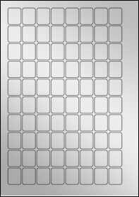 Product EU30052SF - 20mm x 25mm Labels - Metallic Silver Laser - 80 Per A4 Sheet