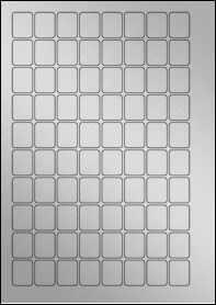 Product EU30052SP - 20mm x 25mm Labels - Weatherproof Silver Laser - 80 Per A4 Sheet