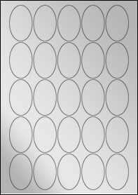 Product EU30055SF - 35mm x 55mm Labels - Metallic Silver Laser - 25 Per A4 Sheet