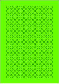 Product EU30059GB - 10mm x 10mm Labels - Fluorescent Matt Green - 260 Per A4 Sheet