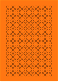 Product EU30059AB - 10mm x 10mm Labels - Fluorescent Matt Orange - 260 Per A4 Sheet