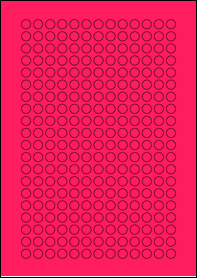 Product EU30059PB - 10mm x 10mm Labels - Fluorescent Matt Pink - 260 Per A4 Sheet