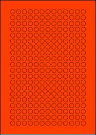 Product EU30059RB - 10mm x 10mm Labels - Fluorescent Matt Red - 260 Per A4 Sheet