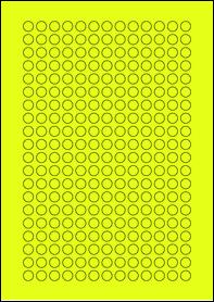Product EU30059YB - 10mm x 10mm Labels - Fluorescent Matt Yellow - 260 Per A4 Sheet